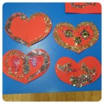 Showing someone we love them by making sparkly hearts for Valentines Day
