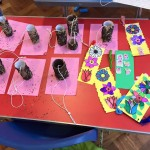 Bird feeders and flower bookmarks