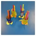 Our bird Pencil pots ready for our desks