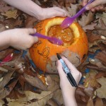 We had great fun scooping out the middle and decorating our pumpkin