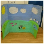 We had fun making this giant spring farm background at our craft club.