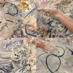 Having some messy fun with shaving cream in the tuff spot