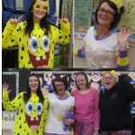 staff joining in with the children in need fun