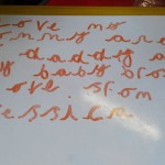 Another one of our children showed us how fantastic she was at writing.