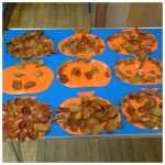 We made some leaf pumpkins for Halloween