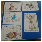 We had fun colouring in these nativity pictures