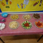 Our lovely, tasty Christmas Tea party food all set up.