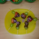 Another Tuesday cooking club, we made fruit kebabs this time