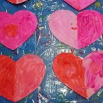 We painted some hearts for valentines day