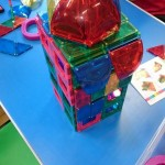 Building with magnetic tiles, so much fun