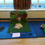 all ready for fairy tale week, the 3 little pigs house building