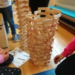 they particularly enjoyed the wooden blocks and built this amazing tower with them