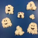 We made some spooky looking ghosts