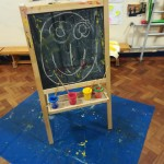 chalk drawing on the easel