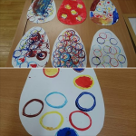 our EYFS children are learning about dinosaurs so we made these printed dinosaur eggs