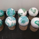 We made some sequin Earths for Earth day