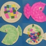 this time we used paper plates to make fish
