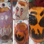 We painted the pumpkins with spooky faces