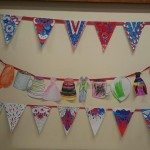 We got ready for the royal wedding and made some lovely colourful bunting