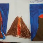 We drew volcanoes