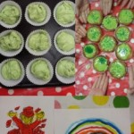 We celebrated St Patricks Day by making some green cupcakes and colouring some themed pictures in
